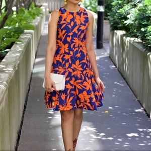 Blue and orange floral J. Crew dress